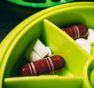 Pills in a dosette box